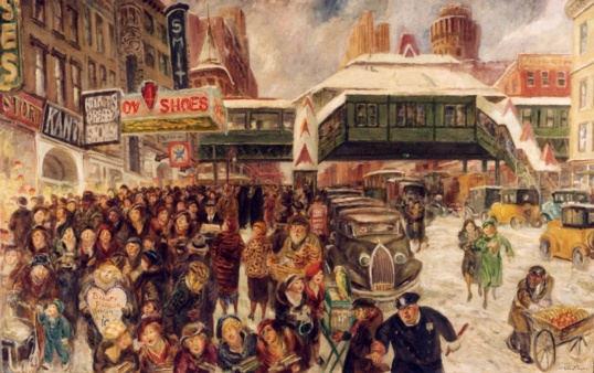 New York City street scene at the time New Deal art programs were getting under way