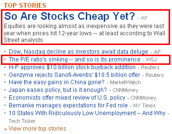 pe STOCKS ARE CHEAP, BUT THIS METRIC DOESNT WORK?