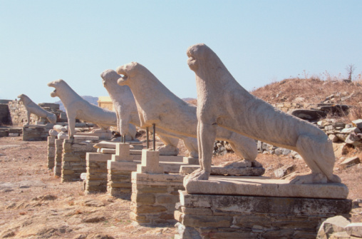 Statues of lions, Terrace of the Lions, Delos, Greece
