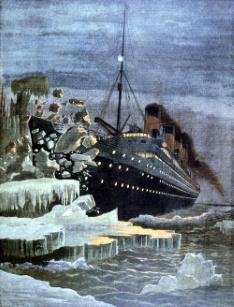 SS Titanic colliding with an iceberg 14 April 1912. From Le Petit Journal Paris 28 April 1912