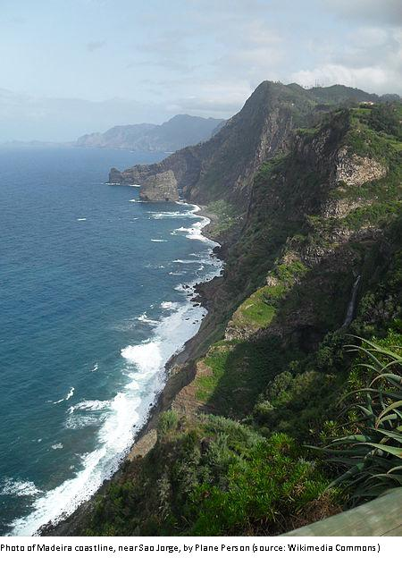 Photo of Madeira coastline, near Sao Jorge, by Plane Person (source: Wikimedia Commons)